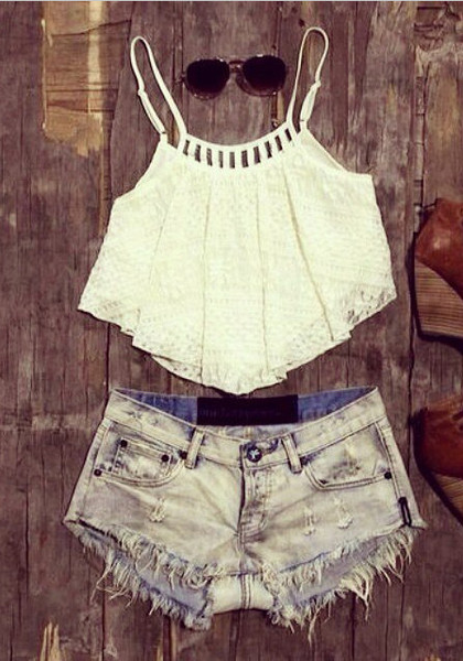 """A"" Hem Lace Crop Top"