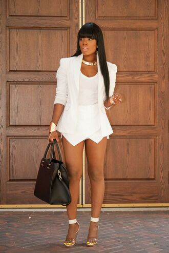 shorts white skorts skirt chic blogger style outfit jacket jewels