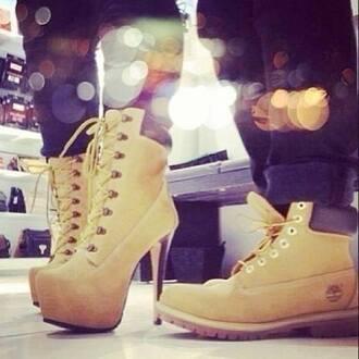 shoes high heels heels beige timberlands