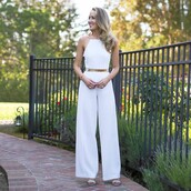 jumpsuit,palazzo jumpsuit,white jumpsuit,classy,sandals,sandal heels,high heel sandals,white sandals,gold belt,belt,summer outfits,all white everything,all white outfit