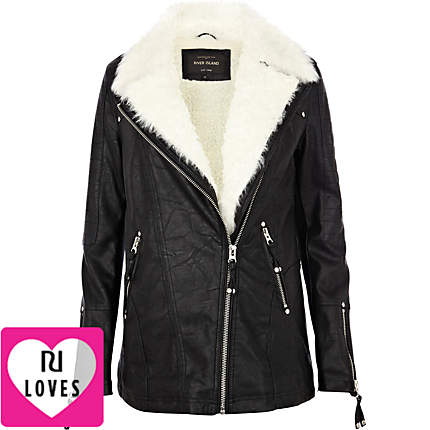 shearling lined longline biker jacket - leather / leather look ...