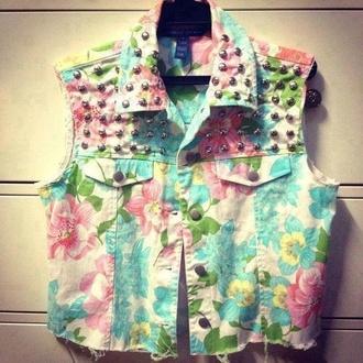 jacket jeans vest studs floral pink aqua blue green