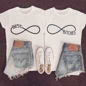 t-shirt,shirt,white,best bitches