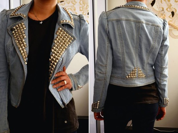 studded denim studded denim jacket denim jacket jacket denim vintage studded jacket light blue denim vintage studs hipster jeans