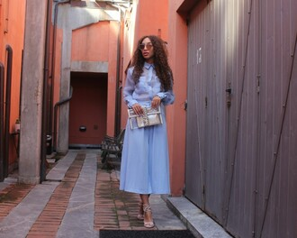 from hats to heels blogger blouse shoes bag sunglasses jewels