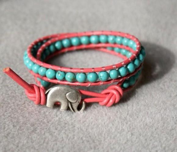 elephant blue jewels bracelets pink beads