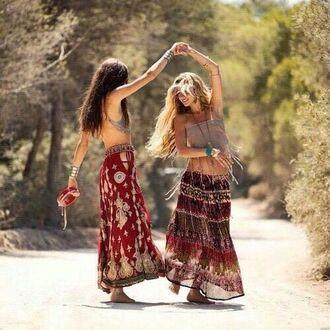 skirt long skirt hippie summer red skirt colorful shorts colorful skirt