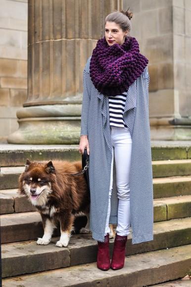 blogger jewels knitwear thank fifi t-shirt knitted scarf stripes cardigan
