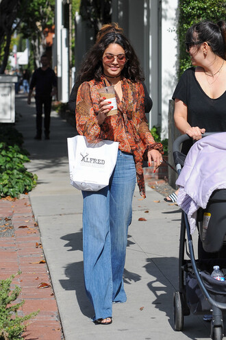 jeans vanessa hudgens blouse spring spring outfits flare jeans streetstyle sunglasses