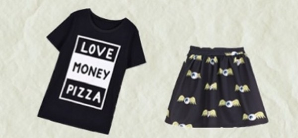 t-shirt pizza money black white black and white t-shirt top skirt eyeball pizza t-shirt