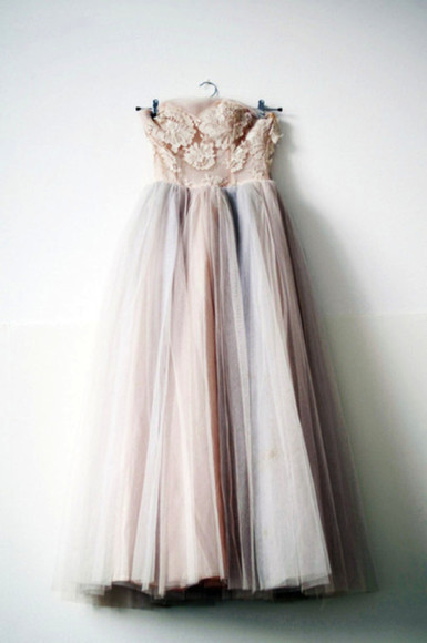 dress floral tulle pink indie long nude neutral