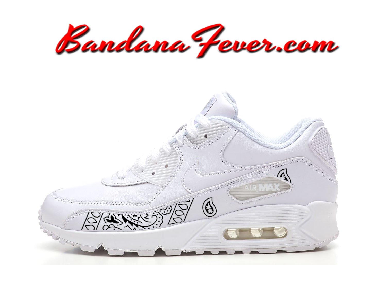 Custom Black Bandana Nike Air Max 90 Shoes White