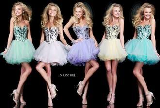 dress sherri hill prom dress short dress light blue