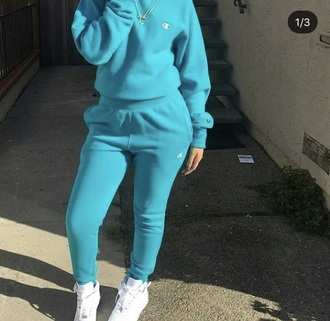 blouse champion turquoise jogger outfit need  pants