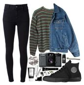 sweater,grunge,denim jacket,aesthetic,tumblr,tumblr sweater,polyvore,cardigan,punk,punk rock,goth,retro,cool,rad,soft grunge,90s style