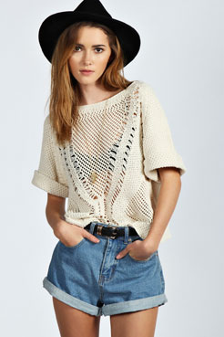 Delilah Ladder Crochet Short Sleeve Jumper at boohoo.com