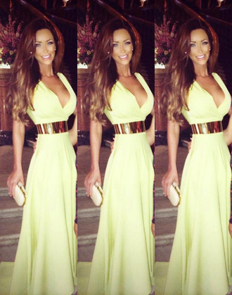 dress gree neon summer sexy glamour gold evening outfits funny 2014 low green dress elegant elegant dress neon dress designer dress designer fitting formal dress plunge v neck glamorous dress fabulous classy long evening dress sexy evening dresses evening dress beautiful clubwear night dress summer dress cute dress cute celebrity style mint feminine v neck dress low cut low cut dress belt miley cyrus maxi dress gown long dress