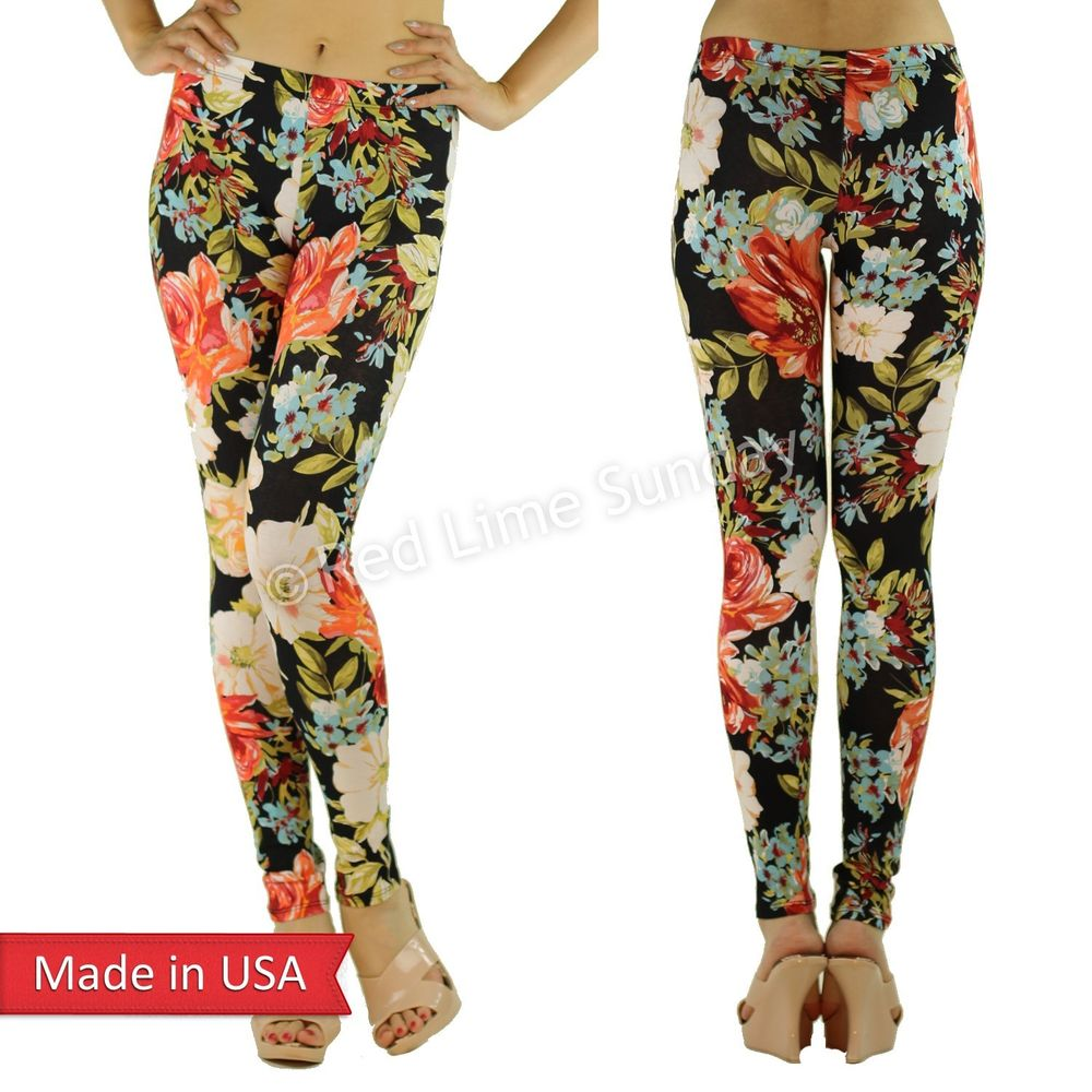 Black Multi Color Floral Flower Pattern Cotton Print Leggings Tights Pants USA