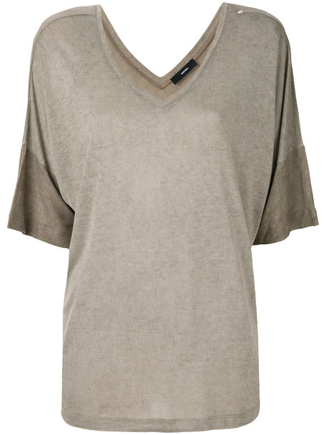 Diesel - V-neck T-shirt - women - Viscose - S, Brown, Viscose