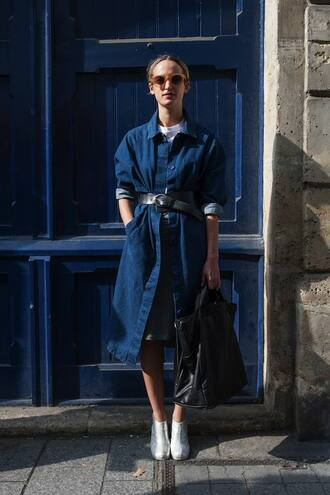 coat denim fashion week 2014 streetstyle fall outfits
