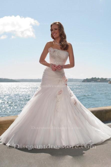 Cheap Organza Mermaid/Trumpet Beading/Sequins Strapless Wedding Dress