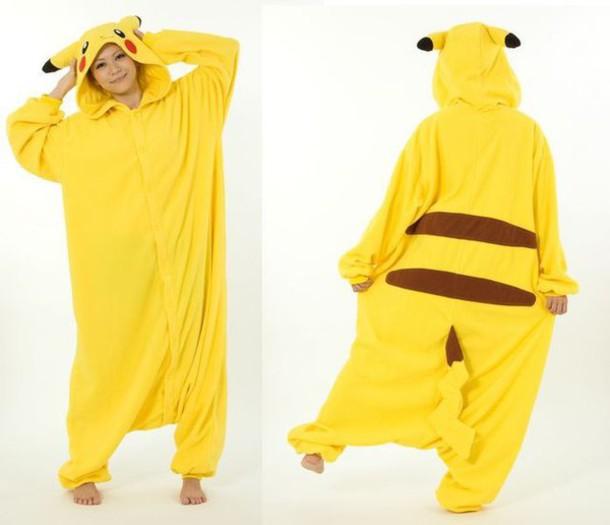 dress pokemon kigurumi pikachu onesie yellow accurate cute lovely cosplay  long large brown sleepwear soft tail fd9a66f77f3c