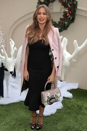 coat,sofia vergara,celebrity,midi dress,pink