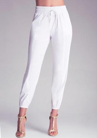 pants white white pants white jeans white bottoms joggers joggers pants drawstring drawstring pants bebe bebe.com