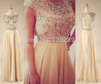 long prom dress backless cap sleeves beading prom dress scoop neck champagne prom dress