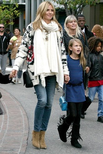 cardigan sweater winter sweater fall outfits boots ankle boots heidi klum shoes