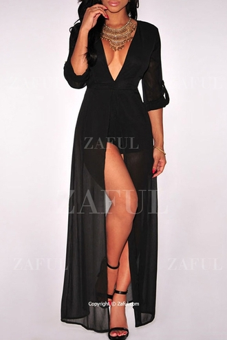 dress zaful black black dress long dress long black dress long black dresses plunging dress black plunging dress
