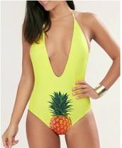 swimwear,girly,deep v,one piece swimsuit,one piece,backless,pineapple print,pineapple,pineapple swimsuit,cute