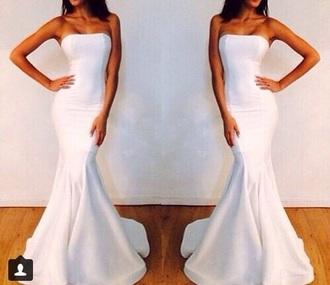 dress formal formal dress prom white strapless dress mermaid mermaid prom dress white dress white strapless dress prom mermaid dress