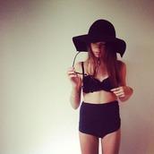 swimwear,black,high waisted bottom,lace,floppy hat