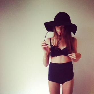 swimwear black high waisted bottom lace floppy hat