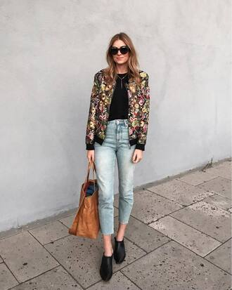 shoes tumblr mules denim jeans blue jeans jacket bomber jacket floral floral jacket bag sunglasses