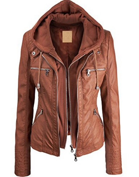 jacket hood light brown leathe