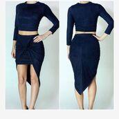 dress,boutique beau monde,2 piece skirt set,crop tops,suede,navy,navy dress,wrap skirts,asymmetrical,asymmetrical skirt
