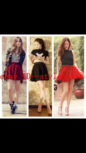 skirt blogger rose rose 3d romantic pattern burgundy