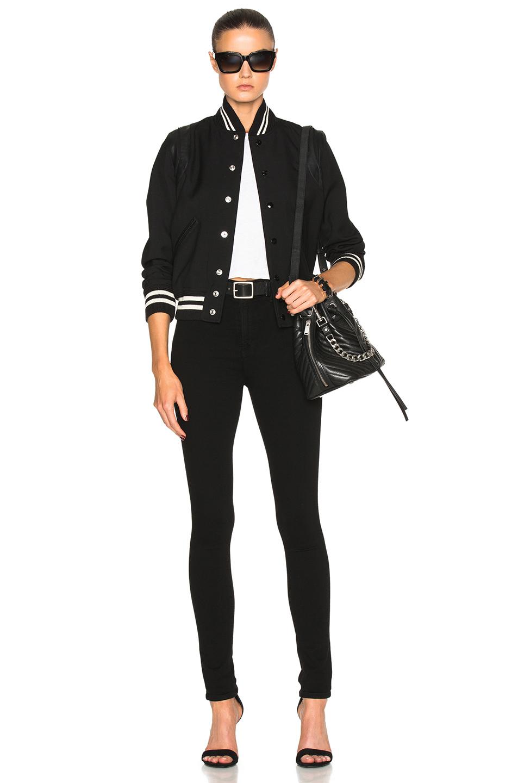 0fcbbecc7b Saint Laurent Teddy Gabardine Bomber Jacket in Black | FWRD