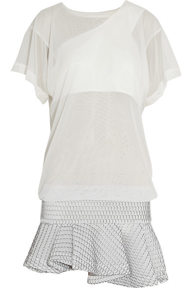 Jay Ahr | Stretch and honeycomb-mesh mini dress | NET-A-PORTER.COM