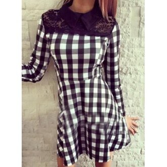 dress plaid black and white cute sweet style flat collar long sleeve lace spliced plaid dress for women girly fashion style fall outfits long sleeves rose wholesale-dec
