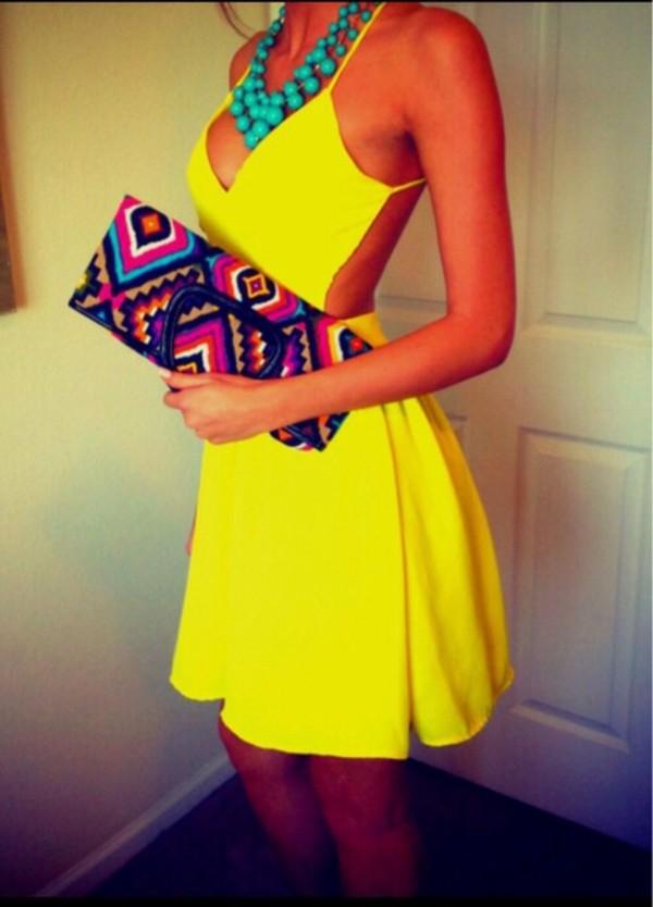 dress sexy sexy yellow sunglasses summer dress ootd backless dress backless hot clutch bag