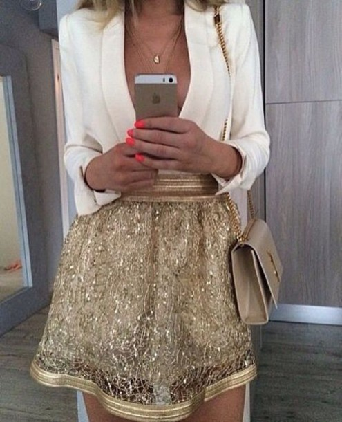 Skirt: gold, gold high waisted skirt, gold mesh skirt, gold skirt ...