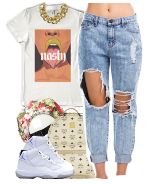 jeans bag pants hat t-shirt