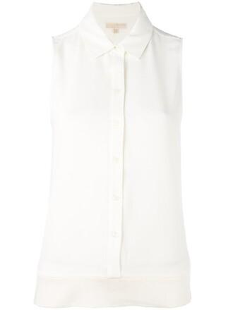 shirt button down shirt sleeveless women spandex white top