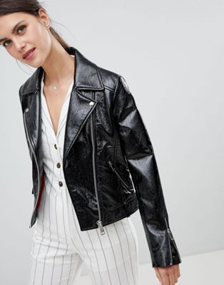 Lab Leather Biker Jacket in Patent at asos.com