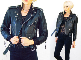 jacket moto biker crop tops cropped 90s style punk grunge 1990s motorcycle vintage