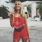romper,red,fashion,boho,trendy,spring,festival,two-piece,freevibrationz,shorts,strapless,crop tops,summer,free vibrationz,red romper