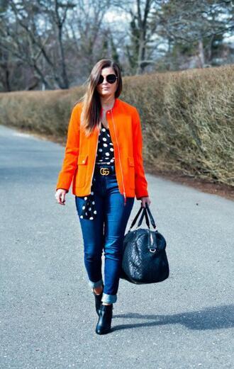to be bright shoes bag blogger sunglasses coat top gucci belt polka dots handbag booties orange jacket